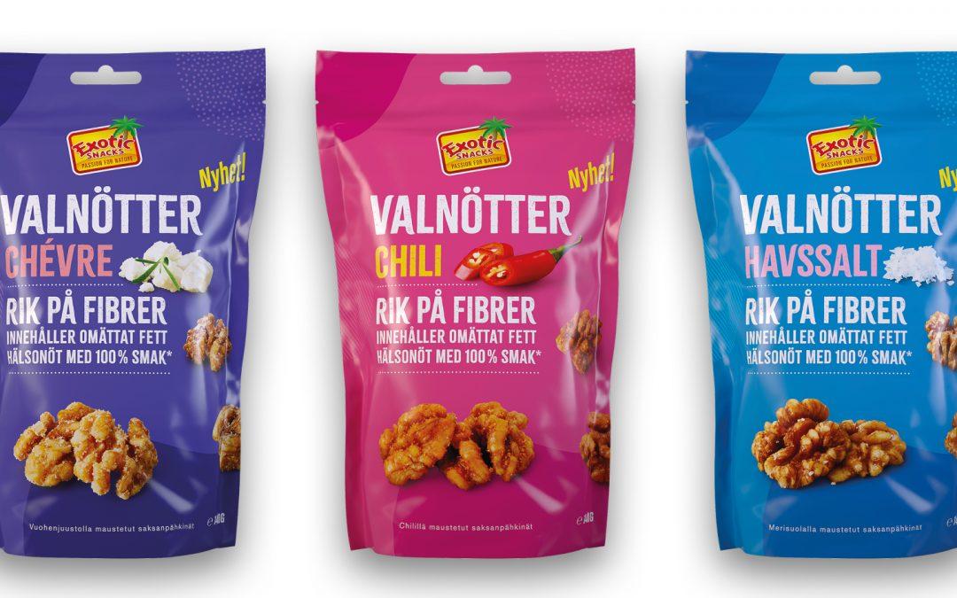 Premium Snacks Nordic: Äntligen smaksatta valnötter – Exotic Snacks innoverar i nötkategorin